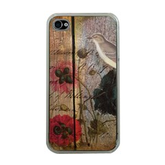 Vintage Bird Poppy Flower Botanical Art Apple Iphone 4 Case (clear) by chicelegantboutique