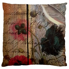 Vintage Bird Poppy Flower Botanical Art Large Cushion Case (single Sided)  by chicelegantboutique