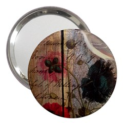 Vintage Bird Poppy Flower Botanical Art 3  Handbag Mirror by chicelegantboutique