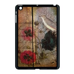 Vintage Bird Poppy Flower Botanical Art Apple Ipad Mini Case (black) by chicelegantboutique
