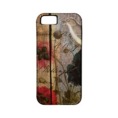 Vintage Bird Poppy Flower Botanical Art Apple Iphone 5 Classic Hardshell Case (pc+silicone) by chicelegantboutique