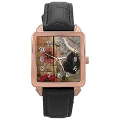 Vintage Bird Poppy Flower Botanical Art Rose Gold Leather Watch