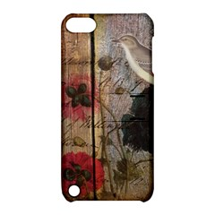 Vintage Bird Poppy Flower Botanical Art Apple Ipod Touch 5 Hardshell Case With Stand by chicelegantboutique