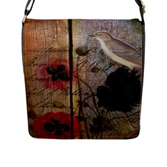 Vintage Bird Poppy Flower Botanical Art Flap Closure Messenger Bag (large)