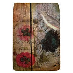 Vintage Bird Poppy Flower Botanical Art Removable Flap Cover (large)