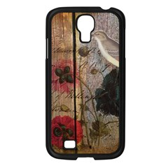 Vintage Bird Poppy Flower Botanical Art Samsung Galaxy S4 I9500/ I9505 (black)