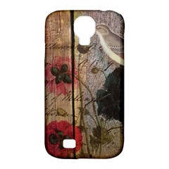 Vintage Bird Poppy Flower Botanical Art Samsung Galaxy S4 Classic Hardshell Case (pc+silicone) by chicelegantboutique