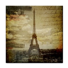 Elegant Vintage Paris Eiffel Tower Art Ceramic Tile