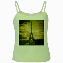 Elegant Vintage Paris Eiffel Tower Art Green Spaghetti Tank