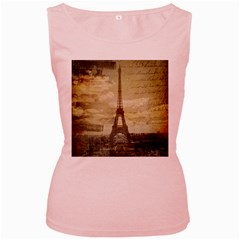 Elegant Vintage Paris Eiffel Tower Art Womens  Tank Top (pink)