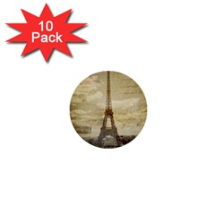 Elegant Vintage Paris Eiffel Tower Art 1  Mini Button (10 Pack)