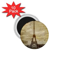 Elegant Vintage Paris Eiffel Tower Art 1 75  Button Magnet (10 Pack)