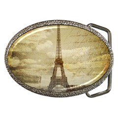 Elegant Vintage Paris Eiffel Tower Art Belt Buckle (oval) by chicelegantboutique