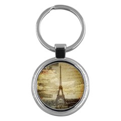 Elegant Vintage Paris Eiffel Tower Art Key Chain (round) by chicelegantboutique