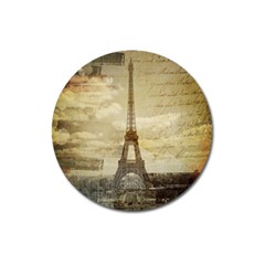 Elegant Vintage Paris Eiffel Tower Art Magnet 3  (round) by chicelegantboutique
