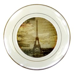 Elegant Vintage Paris Eiffel Tower Art Porcelain Display Plate