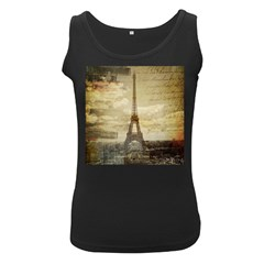 Elegant Vintage Paris Eiffel Tower Art Womens  Tank Top (black)