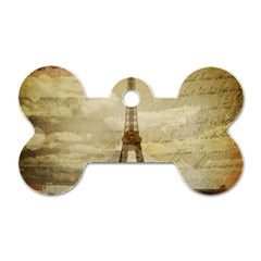 Elegant Vintage Paris Eiffel Tower Art Dog Tag Bone (one Sided) by chicelegantboutique