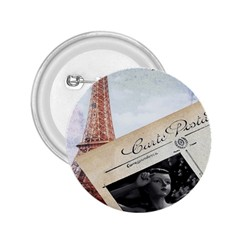 French Postcard Vintage Paris Eiffel Tower 2 25  Button