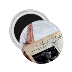 French Postcard Vintage Paris Eiffel Tower 2 25  Button Magnet by chicelegantboutique