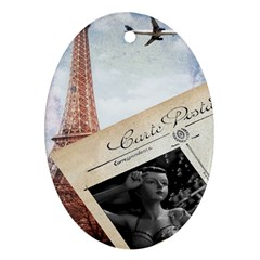 French Postcard Vintage Paris Eiffel Tower Oval Ornament