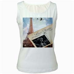 French Postcard Vintage Paris Eiffel Tower Womens  Tank Top (white) by chicelegantboutique