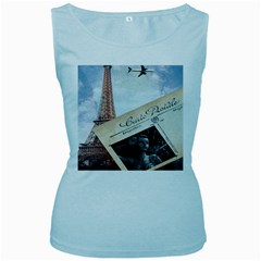 French Postcard Vintage Paris Eiffel Tower Womens  Tank Top (baby Blue)