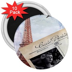 French Postcard Vintage Paris Eiffel Tower 3  Button Magnet (10 Pack) by chicelegantboutique