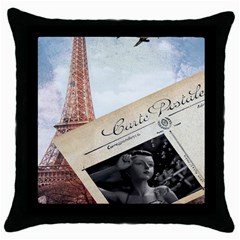 French Postcard Vintage Paris Eiffel Tower Black Throw Pillow Case