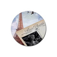 French Postcard Vintage Paris Eiffel Tower Drink Coaster (round)