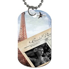 French Postcard Vintage Paris Eiffel Tower Dog Tag (two Sided)  by chicelegantboutique