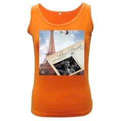 French Postcard Vintage Paris Eiffel Tower Womens  Tank Top (dark Colored)