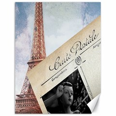French Postcard Vintage Paris Eiffel Tower Canvas 18  X 24  (unframed) by chicelegantboutique