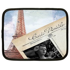 French Postcard Vintage Paris Eiffel Tower Netbook Case (large) by chicelegantboutique