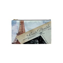 French Postcard Vintage Paris Eiffel Tower Cosmetic Bag (small)