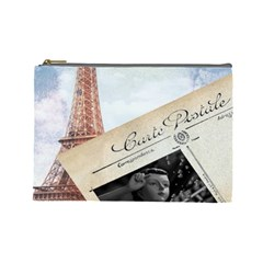 French Postcard Vintage Paris Eiffel Tower Cosmetic Bag (large)