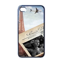 French Postcard Vintage Paris Eiffel Tower Apple Iphone 4 Case (black) by chicelegantboutique