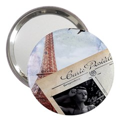 French Postcard Vintage Paris Eiffel Tower 3  Handbag Mirror by chicelegantboutique