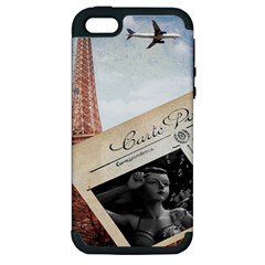 French Postcard Vintage Paris Eiffel Tower Apple Iphone 5 Hardshell Case (pc+silicone)
