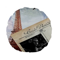 French Postcard Vintage Paris Eiffel Tower 15  Premium Round Cushion  by chicelegantboutique