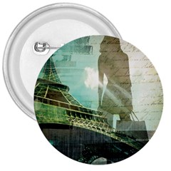 Modern Shopaholic Girl  Paris Eiffel Tower Art  3  Button by chicelegantboutique