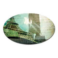 Modern Shopaholic Girl  Paris Eiffel Tower Art  Magnet (oval) by chicelegantboutique