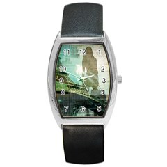 Modern Shopaholic Girl  Paris Eiffel Tower Art  Tonneau Leather Watch by chicelegantboutique