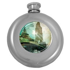 Modern Shopaholic Girl  Paris Eiffel Tower Art  Hip Flask (round) by chicelegantboutique