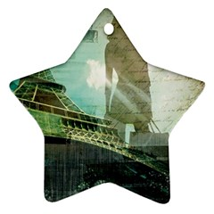 Modern Shopaholic Girl  Paris Eiffel Tower Art  Star Ornament (two Sides) by chicelegantboutique