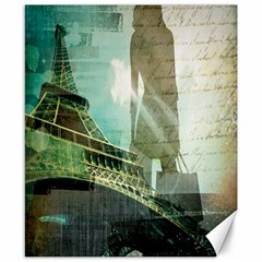 Modern Shopaholic Girl  Paris Eiffel Tower Art  Canvas 8  X 10  (unframed) by chicelegantboutique