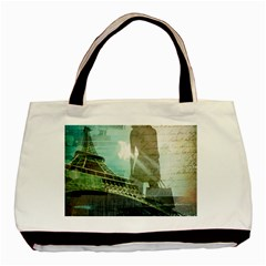 Modern Shopaholic Girl  Paris Eiffel Tower Art  Twin Sided Black Tote Bag by chicelegantboutique