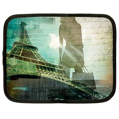 Modern Shopaholic Girl  Paris Eiffel Tower Art  Netbook Case (large) by chicelegantboutique
