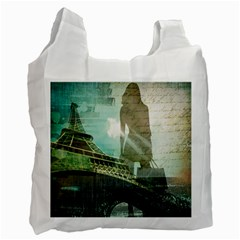 Modern Shopaholic Girl  Paris Eiffel Tower Art  Recycle Bag (one Side)