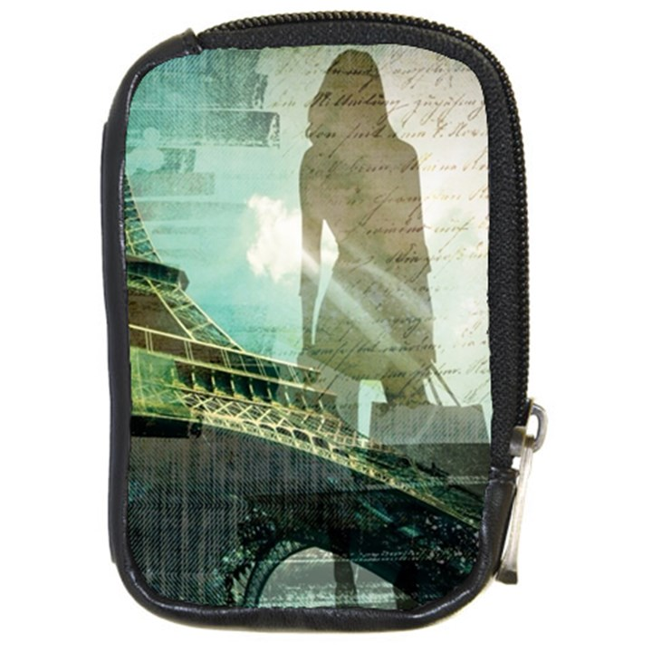 Modern Shopaholic Girl  Paris Eiffel Tower Art  Compact Camera Leather Case